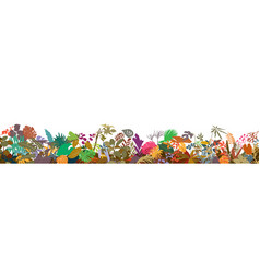 colorful tropical plants horizontal border vector image