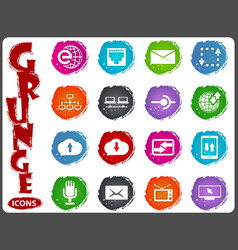 communication icons set in grunge style vector image