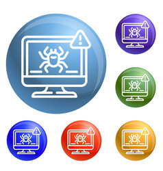 computer virus detection icons set vector image