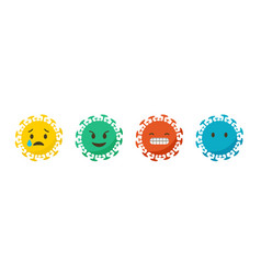 Coronavirus emotions and states emoji icons set vector