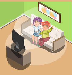 couple watching tv in living room vector image