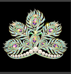 Crown tiara female peacock feather gold with vector