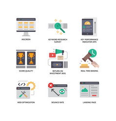 digital marketing icons set 4 vector image