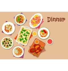 Dinner menu icon for healthy food design vector image
