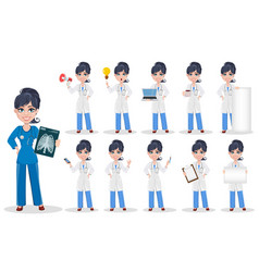doctor woman professional medical staff set vector image