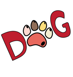 dog red text word print with colorful paw isolated vector image