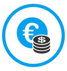 Dollar And Euro Coins Circled Icon vector