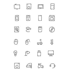 Electronics Hand Drawn Doodle Icons 1 vector