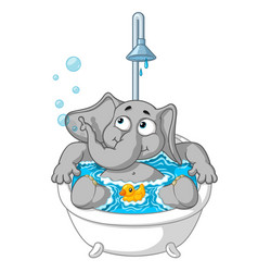Elephant character taking a bath vector