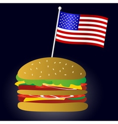 fastfood hamburger and USA flag symbol eps10 vector image