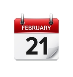 February 21 flat daily calendar icon Date vector