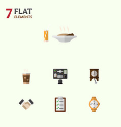 Flat icon life set of bureau timer clock and vector