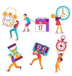 flat people holding watche clock time sign vector image
