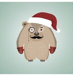 Funny hipster wombat wearing Santas hat vector