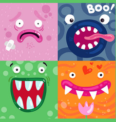 Funny monsters faces concept vector