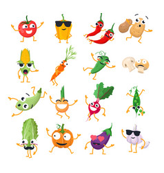 funny vegetables - isolated cartoon vector image