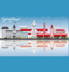 Georgetown skyline with gray buildings blue sky vector