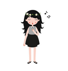 Girl singing little girl singing with closed eyes vector