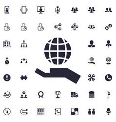 Globe on hand icon vector