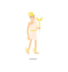 Greek ancient mythology man god hermes with gold vector