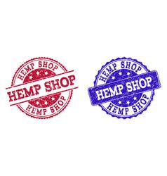 Grunge scratched hemp shop stamp seals vector