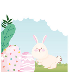 happy easter white bunny with dotted and lined vector image