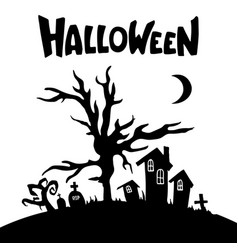 houses trees tombs crosses moon silhouettes vector image