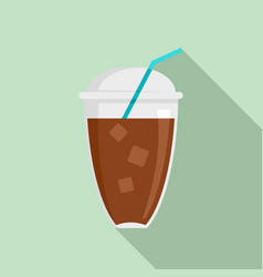 ice coffee icon flat style vector image
