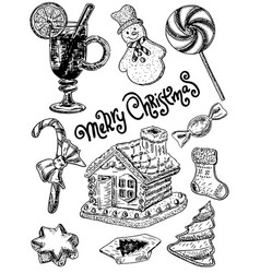 ink hand drawn style merry christmas sweets vector image