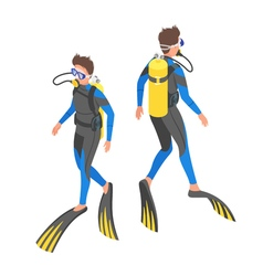 Isometric 3d of diver vector image