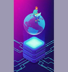 isometric big database engineer concept vector image