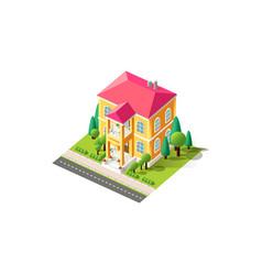 isometric facade yellow penthouse vector image
