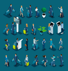 isometric large set with passengers vector image