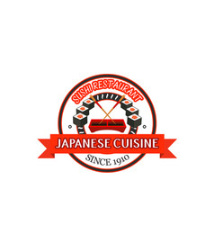 japanese restaurant badge design of seafood sushi vector image