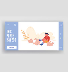 kid petting animals landing page template happy vector image