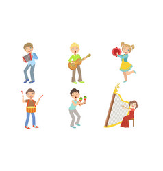 Kids playing music set boys and girls with vector