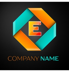 Letter e logo symbol in the colorful rhombus on vector