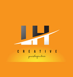Lh l h letter modern logo design with yellow vector
