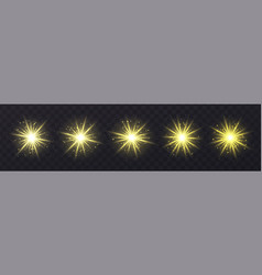Light flares set isolated on transparent vector