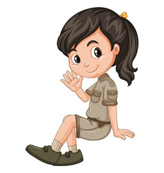Little girl sitting and waving vector