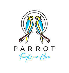 Logo outline of two parrots vector