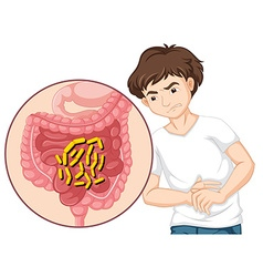 Man having stomachache with bacteria vector
