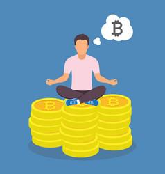 Man sitting yoga lotus pose on bitcoins vector