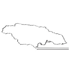 map of jamaica continous line vector image
