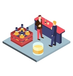 Men in suits at the bar sterilizing Isometric 3D vector