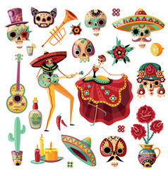 Mexican day of dead set vector