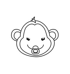 monkey cartoon drawing animal vector image