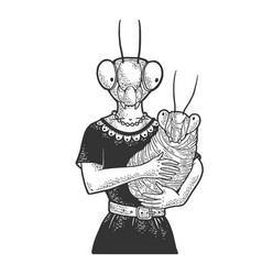 Mother and baby mantis sketch vector