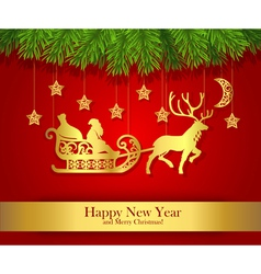 New Year greeting card with gold silhouette of vector image