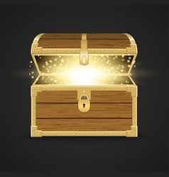 opened realistic wooden chest vector image